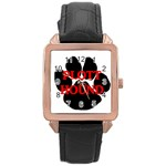 Plott Hound Name Paw Rose Gold Leather Watch  Front