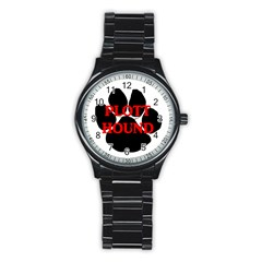 Plott Hound Name Paw Stainless Steel Round Watch