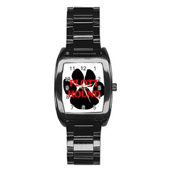Plott Hound Name Paw Stainless Steel Barrel Watch