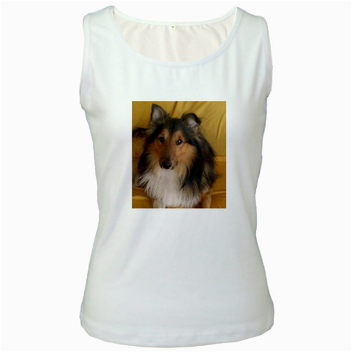 Shetland Sheepdog Women s White Tank Top