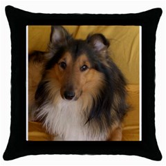 Shetland Sheepdog Throw Pillow Case (Black)