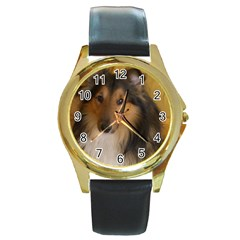Shetland Sheepdog Round Gold Metal Watch