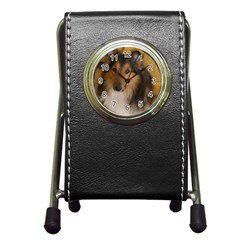 Shetland Sheepdog Pen Holder Desk Clocks