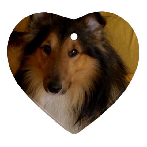 Shetland Sheepdog Heart Ornament (2 Sides)