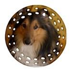 Shetland Sheepdog Ornament (Round Filigree)  Front