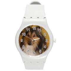 Shetland Sheepdog Round Plastic Sport Watch (M)