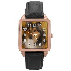 Shetland Sheepdog Rose Gold Leather Watch