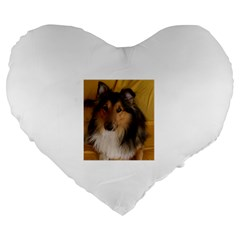 Shetland Sheepdog Large 19  Premium Flano Heart Shape Cushions