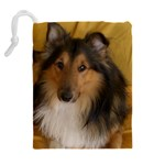 Shetland Sheepdog Drawstring Pouches (Extra Large) Back
