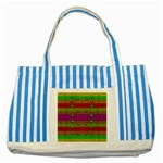 A Wonderful Rainbow And Stars Striped Blue Tote Bag Front