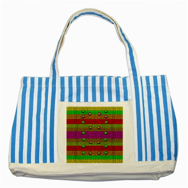A Wonderful Rainbow And Stars Striped Blue Tote Bag