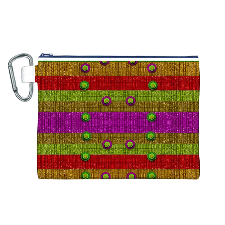 A Wonderful Rainbow And Stars Canvas Cosmetic Bag (L)