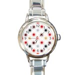 Pearly Pattern Round Italian Charm Watch Front
