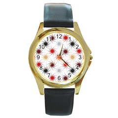 Pearly Pattern Round Gold Metal Watch