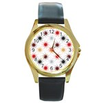 Pearly Pattern Round Gold Metal Watch Front