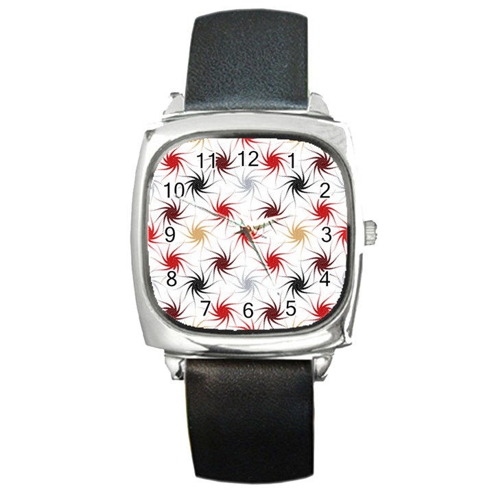 Pearly Pattern Square Metal Watch