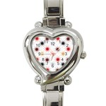 Pearly Pattern Heart Italian Charm Watch Front