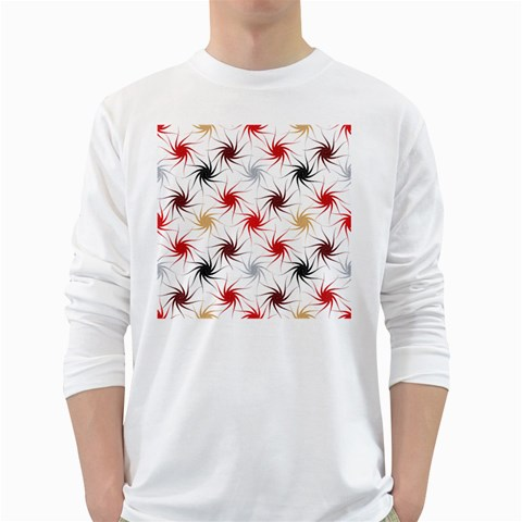 Pearly Pattern White Long Sleeve T-Shirts