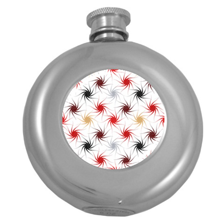 Pearly Pattern Round Hip Flask (5 oz)