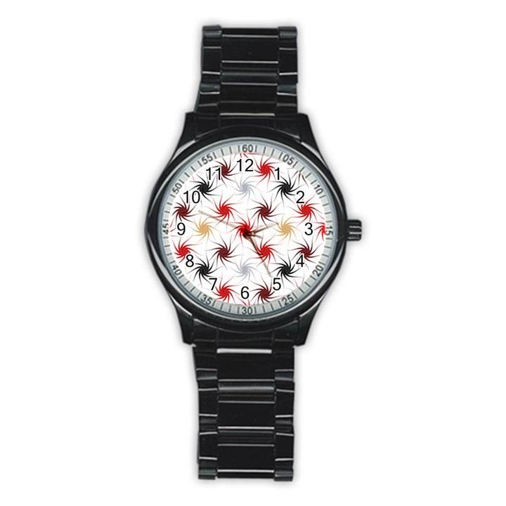 Pearly Pattern Stainless Steel Round Watch