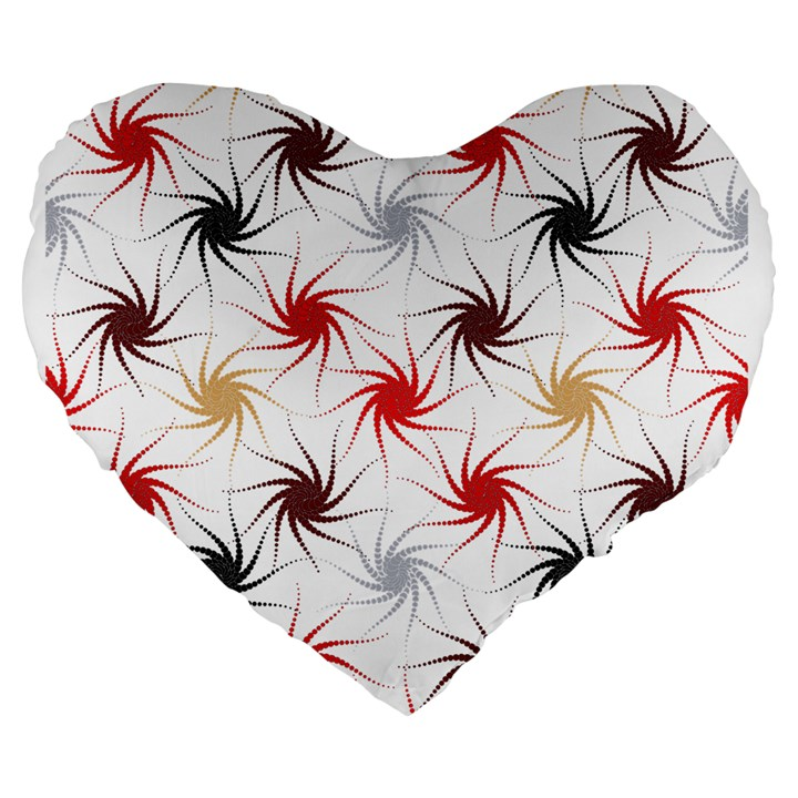 Pearly Pattern Large 19  Premium Flano Heart Shape Cushions