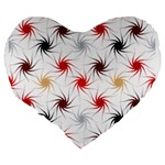Pearly Pattern Large 19  Premium Flano Heart Shape Cushions Back