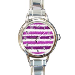 Pink Christmas Background Round Italian Charm Watch