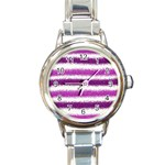 Pink Christmas Background Round Italian Charm Watch Front