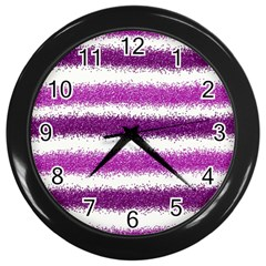 Pink Christmas Background Wall Clocks (Black)