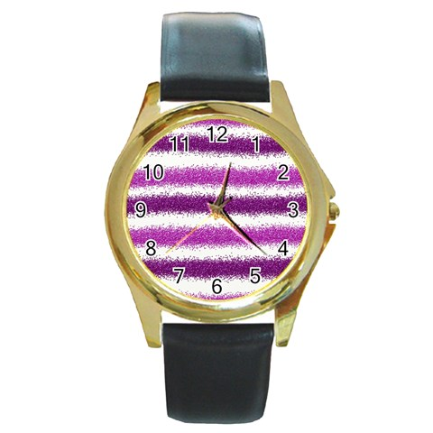 Pink Christmas Background Round Gold Metal Watch