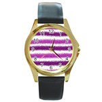 Pink Christmas Background Round Gold Metal Watch Front