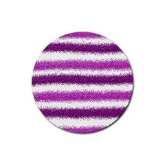 Pink Christmas Background Rubber Round Coaster (4 pack)