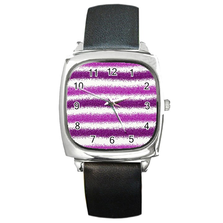 Pink Christmas Background Square Metal Watch
