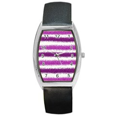 Pink Christmas Background Barrel Style Metal Watch