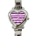 Pink Christmas Background Heart Italian Charm Watch Front