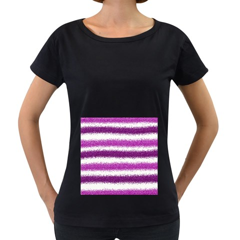 Pink Christmas Background Women s Loose-Fit T-Shirt (Black)