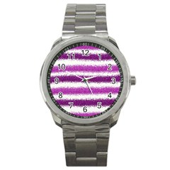 Pink Christmas Background Sport Metal Watch