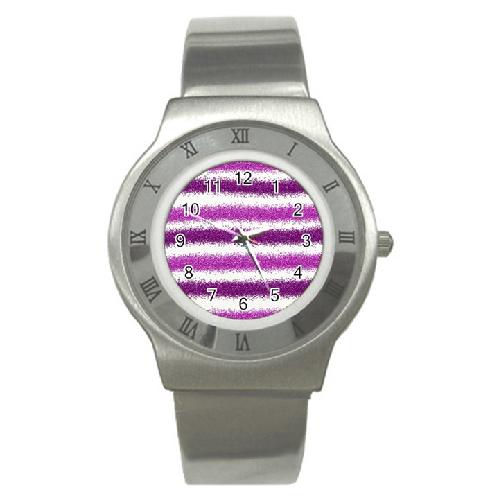 Pink Christmas Background Stainless Steel Watch