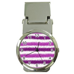 Pink Christmas Background Money Clip Watches
