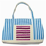 Pink Christmas Background Striped Blue Tote Bag Front
