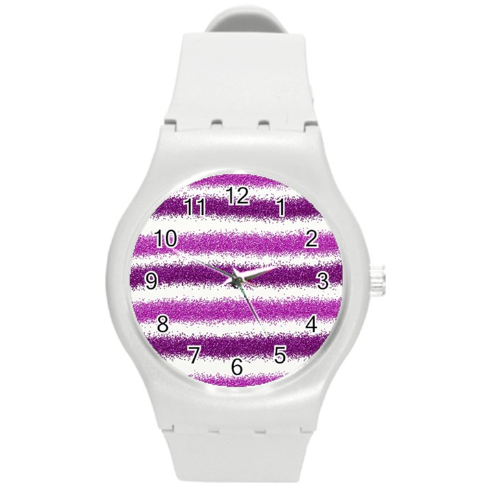 Pink Christmas Background Round Plastic Sport Watch (M)
