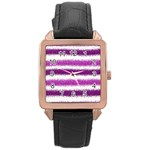 Pink Christmas Background Rose Gold Leather Watch  Front