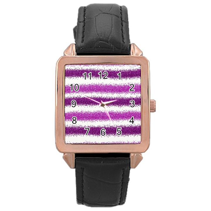 Pink Christmas Background Rose Gold Leather Watch