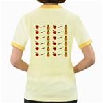 Ppap Pen Pineapple Apple Pen Women s Fitted Ringer T-Shirts Back