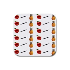 Ppap Pen Pineapple Apple Pen Rubber Square Coaster (4 pack)