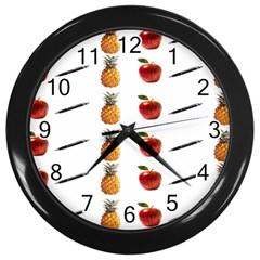 Ppap Pen Pineapple Apple Pen Wall Clocks (Black)