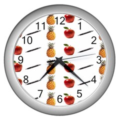 Ppap Pen Pineapple Apple Pen Wall Clocks (Silver)