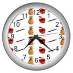 Ppap Pen Pineapple Apple Pen Wall Clocks (Silver)  Front