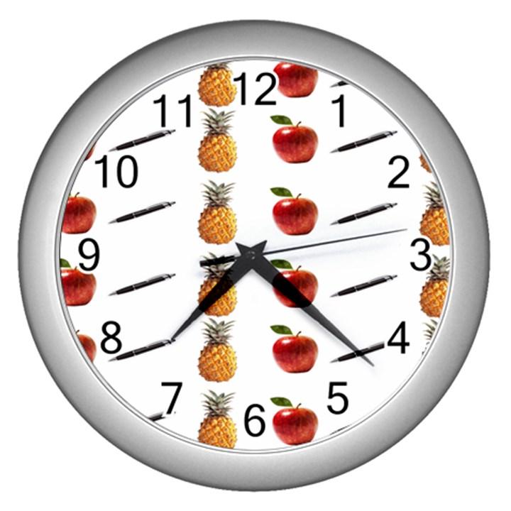 Ppap Pen Pineapple Apple Pen Wall Clocks (Silver)