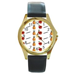 Ppap Pen Pineapple Apple Pen Round Gold Metal Watch